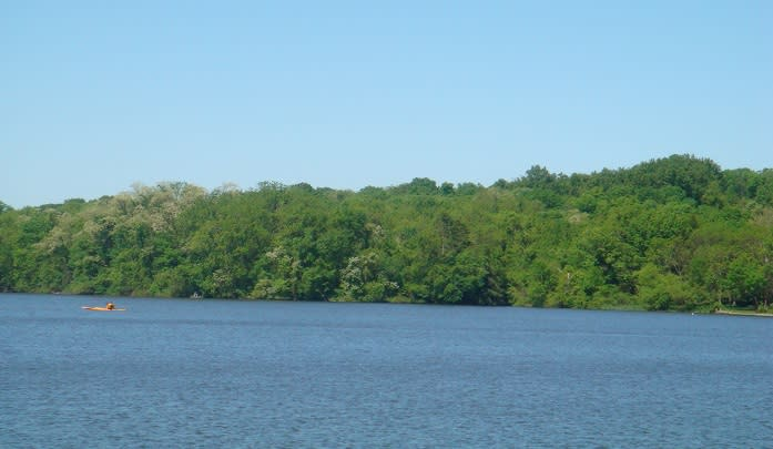 Limited to electric motors, Pinchot Lake is a popular destinations for daysailers and catamarans.