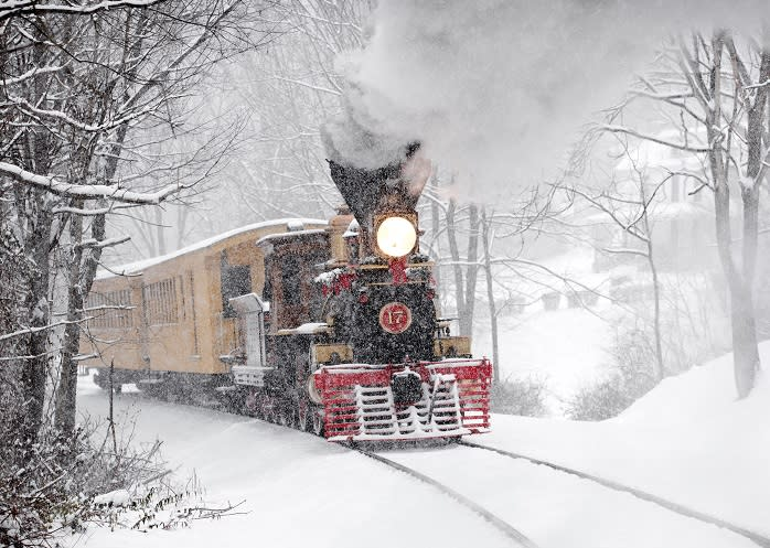 Ride through a winter wonderland on these holiday train excursions. Photo: Matthew Malkiewicz.