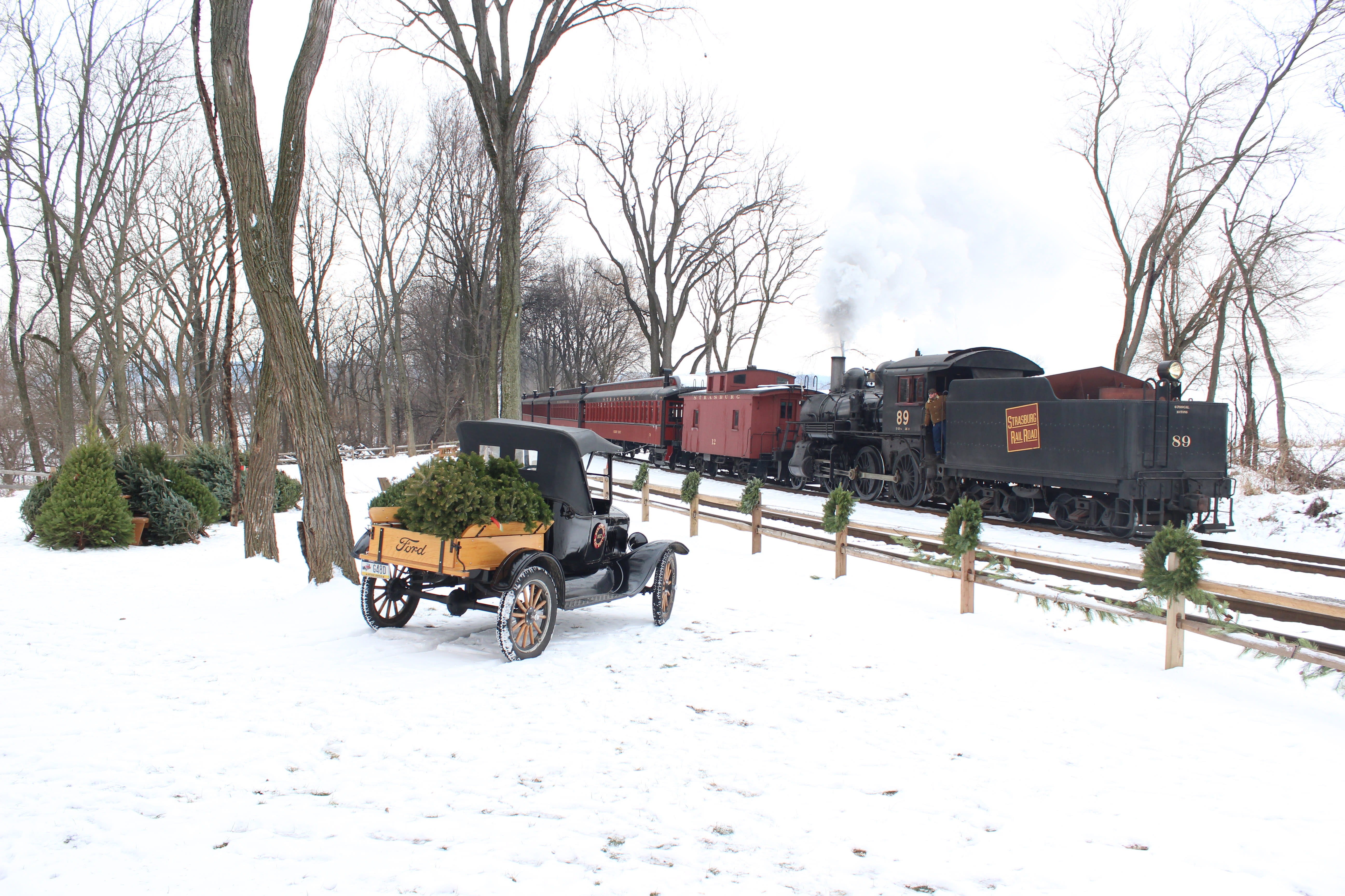Pick out the perfect Christmas tree during holiday rides at the Strasburg Railroad.