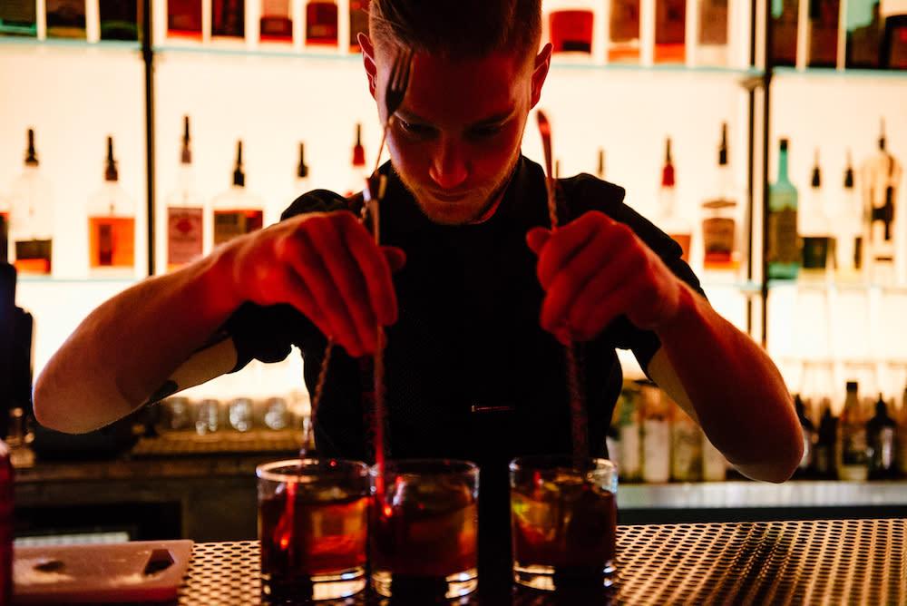 Mixing top-shelf cocktails at BAR-X