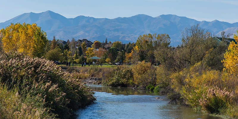 Looking south along the Jordan River to the Oquirrh Mountains