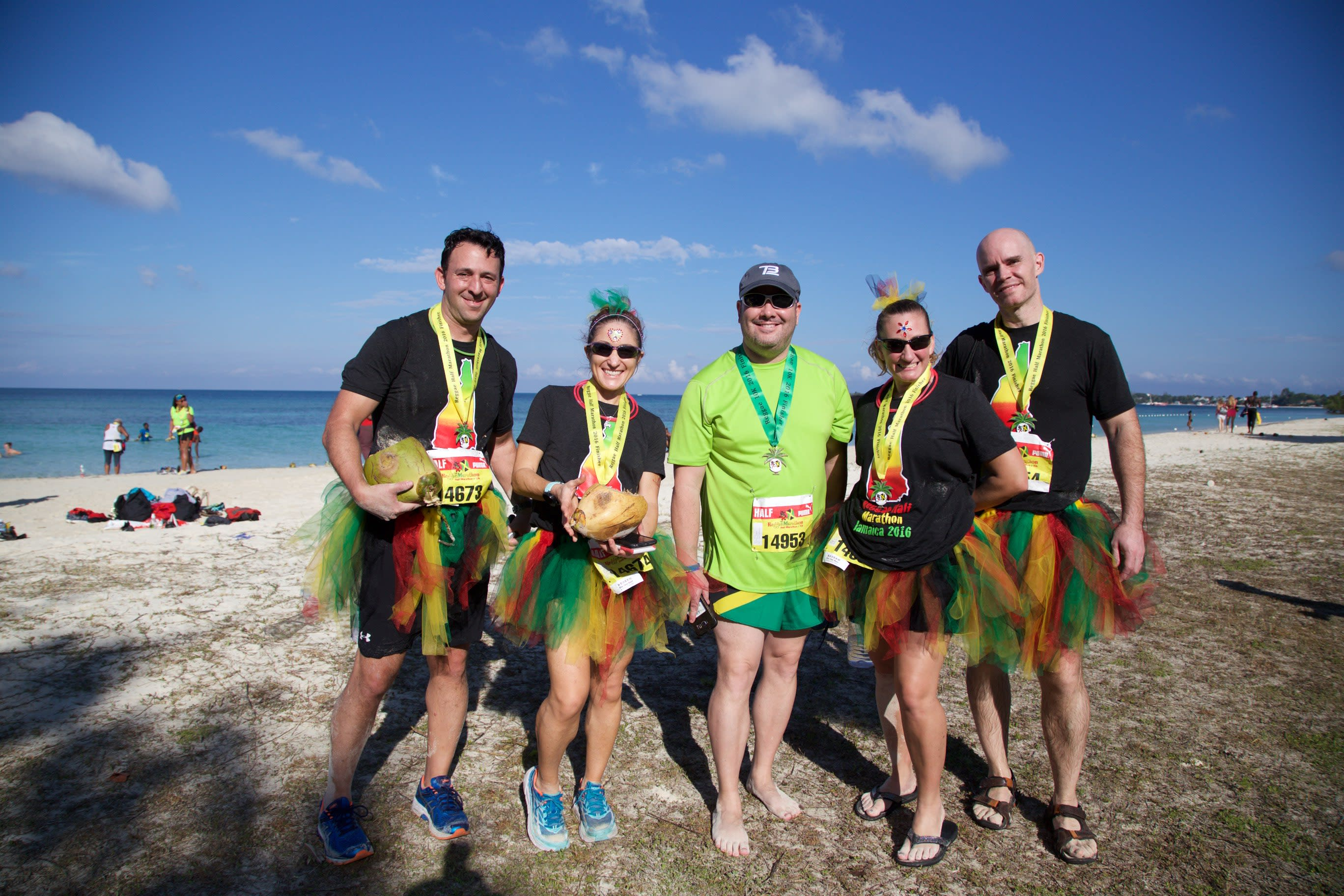 The New Hampshire running group are all smiles on Negril's seven-mile beach after completing the 2016 Reggae Marathon.