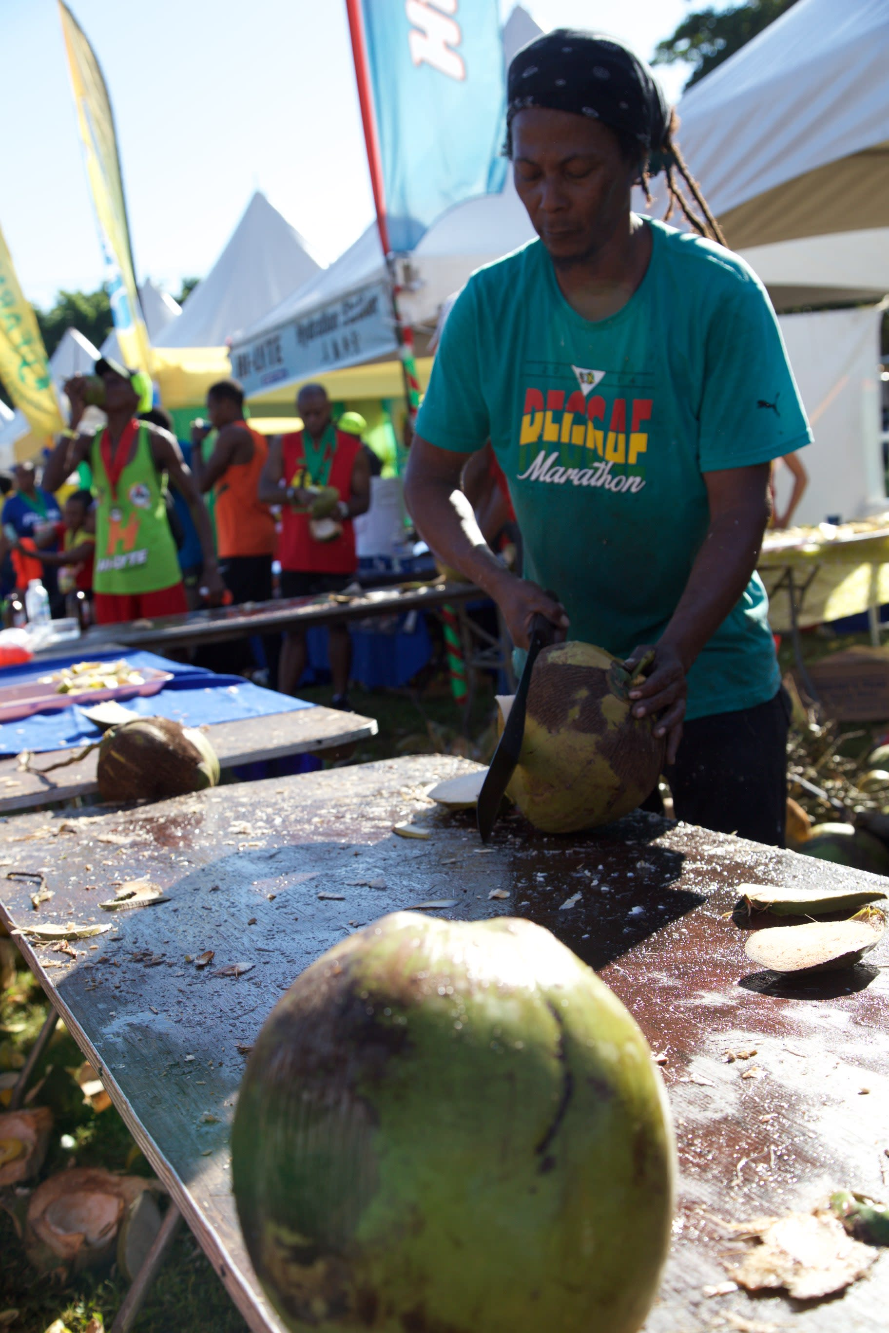Fresh coconut water was on hand for the participants of the 2016 Reggae Marathon in Negril, Jamaica.