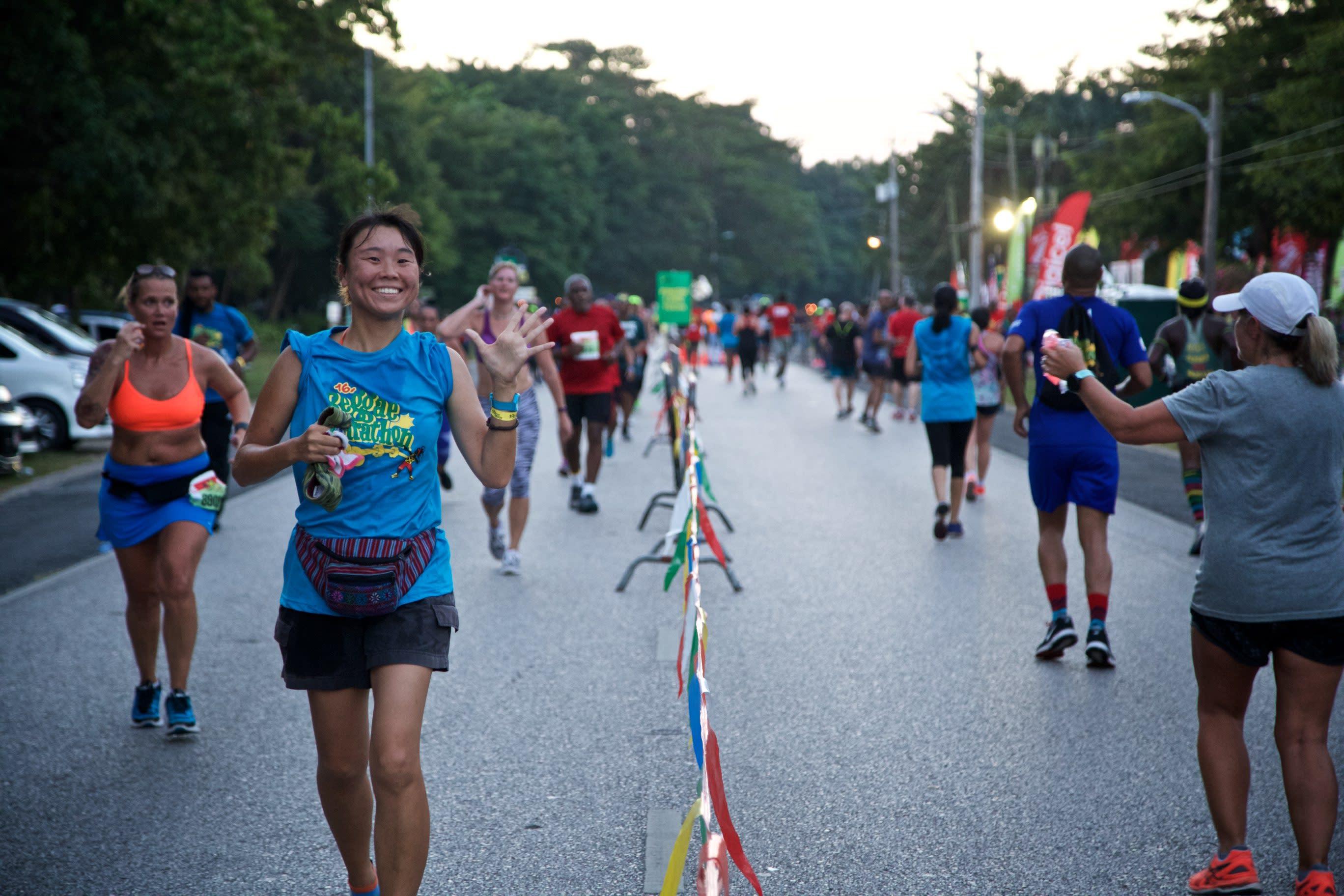 Participants on the run route of the 2016 Reggae Marathon in Negril, Jamaica.