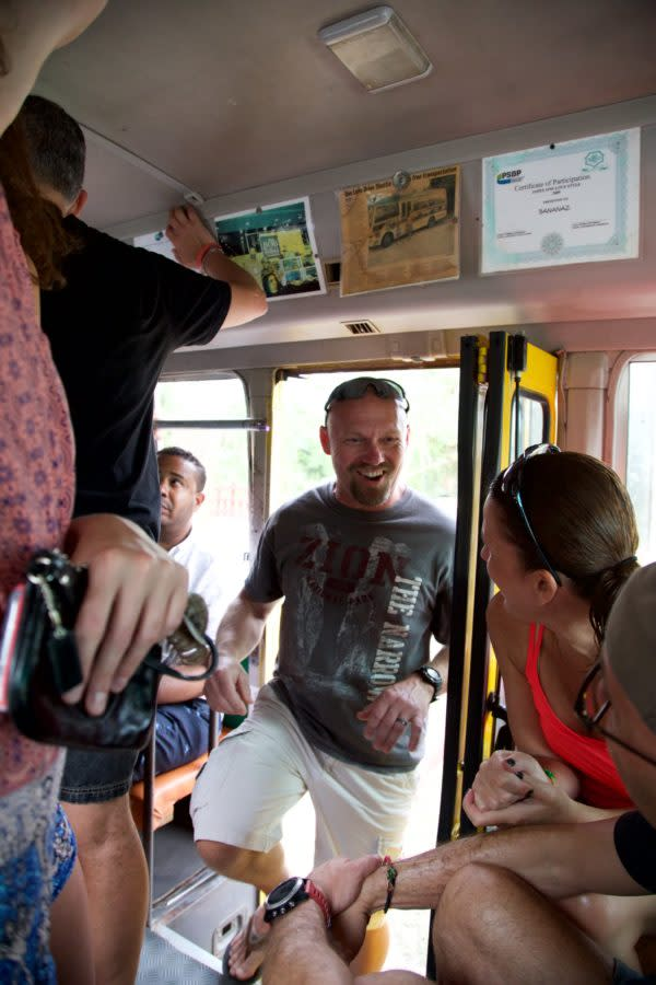 All smiles as passengers board the One Love Bus Bar Crawl in Negril, Jamaica.