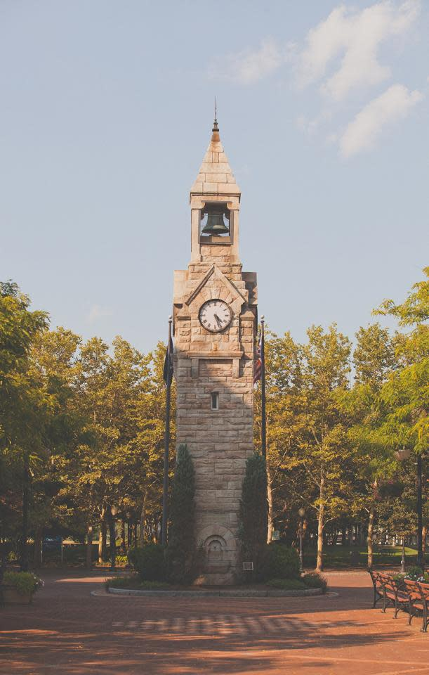 Clock tower in Centerway Square courtesy of Corning's Gaffer District