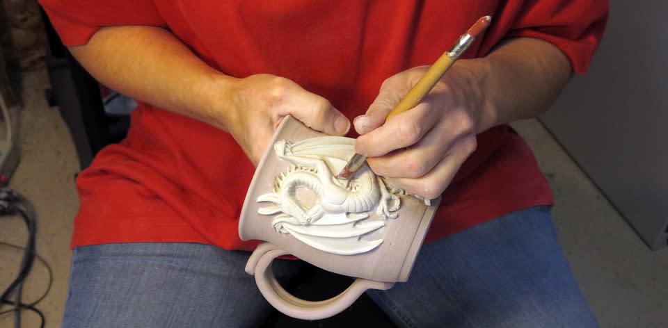 2 Crocked Pots Artist at work in Studio