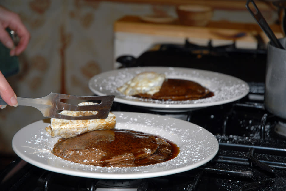 Beer Batter Pancakes with Ganache and Eggs