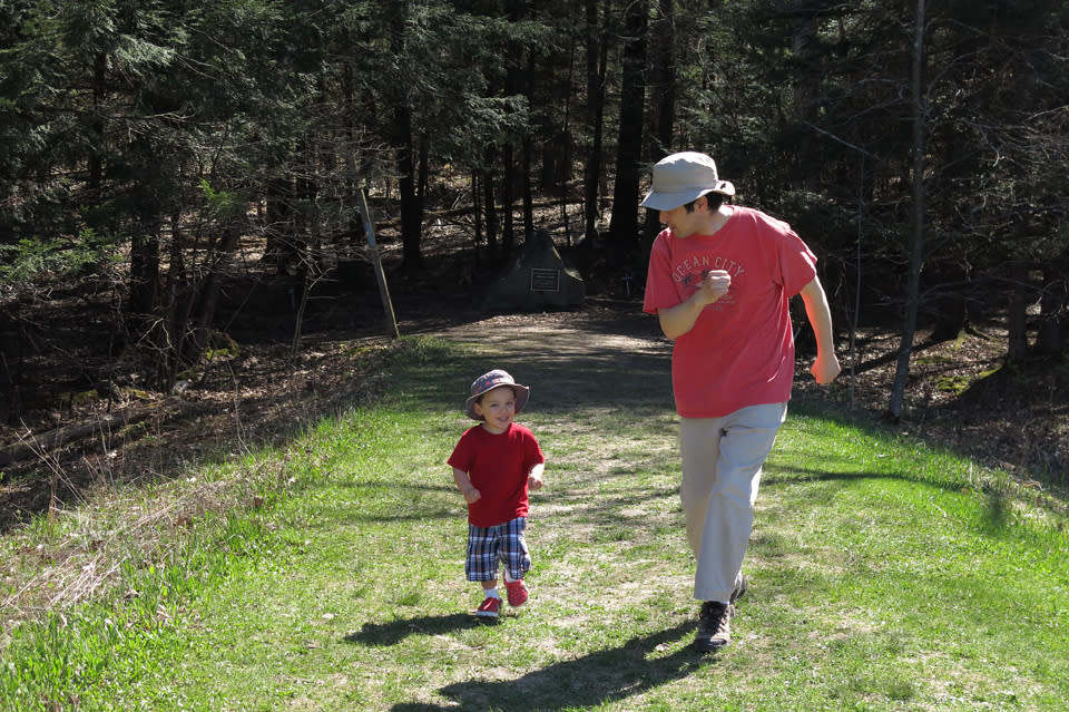 Baby J and Dad hiking at Spencer Crest in Corning