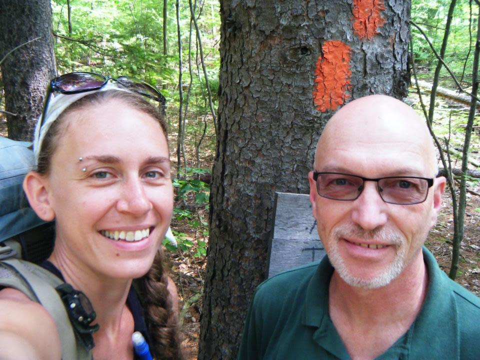 Heather Houskeeper with Patrick Monahan on Crystal Hills Trail