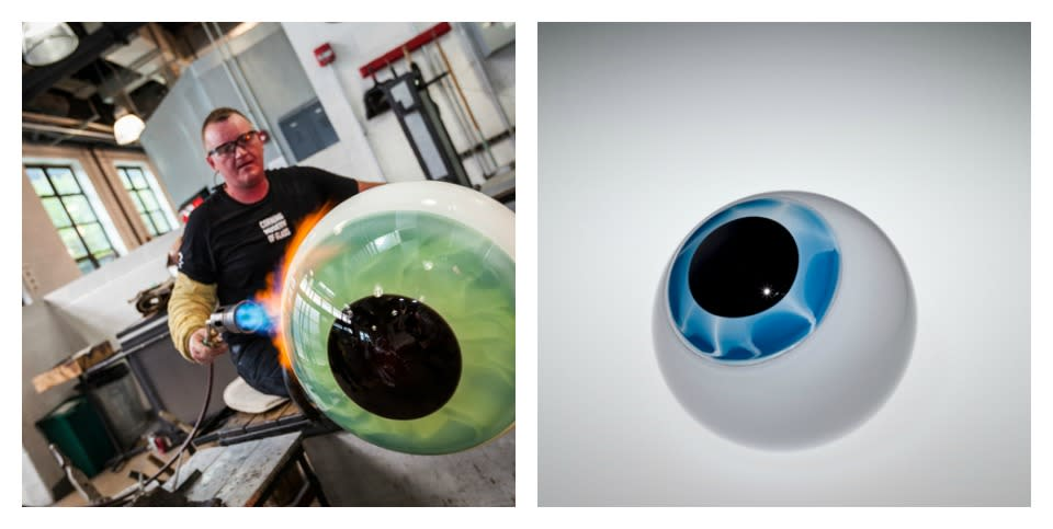 Master Glassblower Sigga Heimis at work + Eye Prototype by Sigga Heimis courtesy of The Corning Museum of Glass