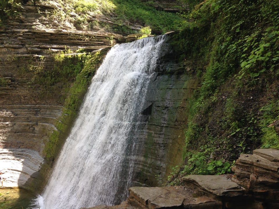View of a waterfall from the Gorge Trail at Stony Brook State Park