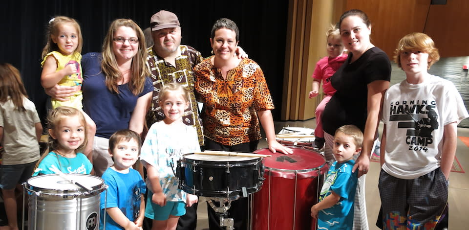 The kids with Gabriel and Tiffany from Diaspora Drumming