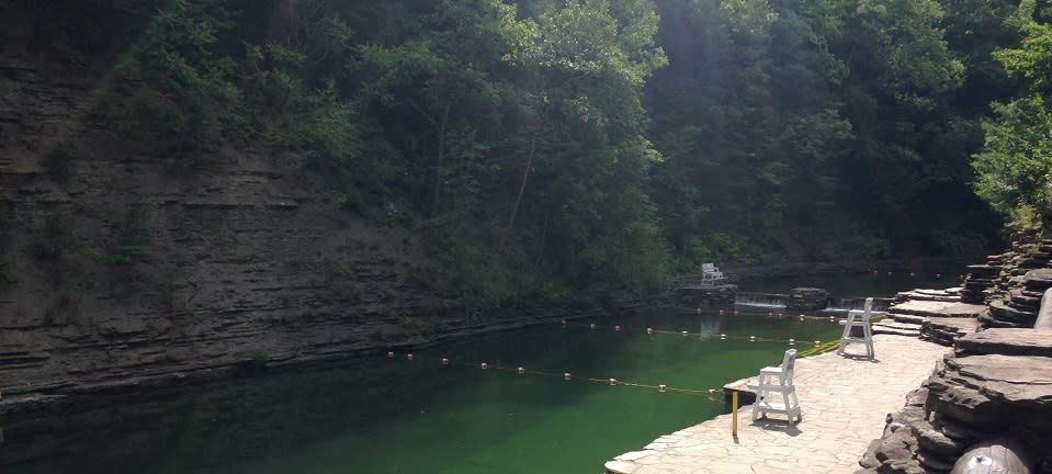 Early morning view of the swimming hole at Stony Brook State Park