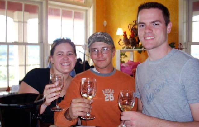 Enjoying the wine at Heron Hill