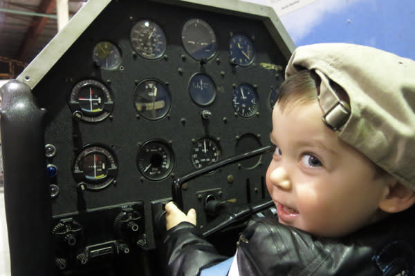 Baby J in the cockpit
