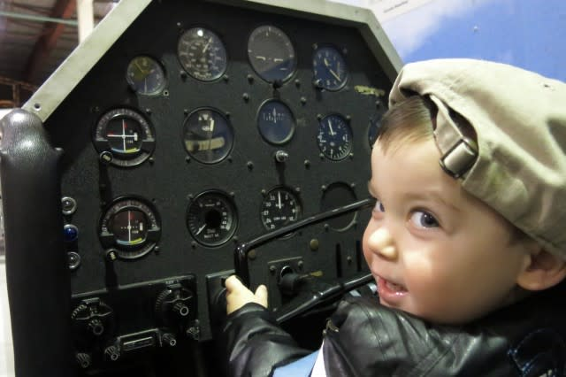 Baby J hammin' it up at the Curtiss Museum!