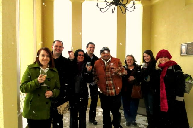 Snowy but fun day tasting at Heron Hill Winery