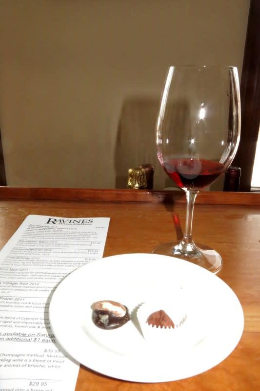 Chocolate and wine pairing at Ravines Wine Cellars