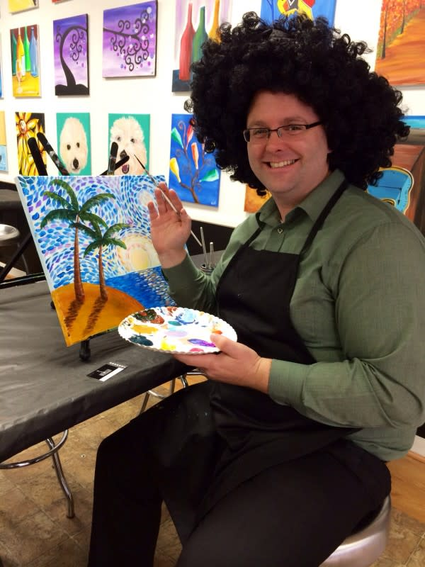 Kevin having too much fun at Wine and Design in Corning.