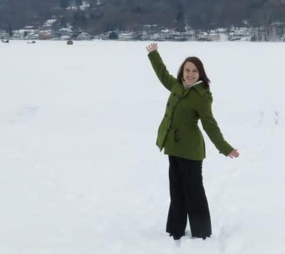 Standing on snowy/icy Keuka Lake!