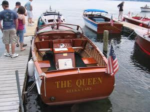 Beautiful antique wooden boats on display on Keuka Lake.