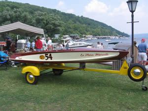 Classic boats on display at Keuka Lake.