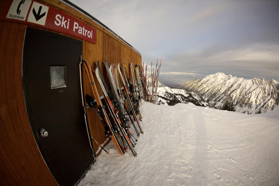 Skis Lined Up at Snowbird Peruvian Lodge