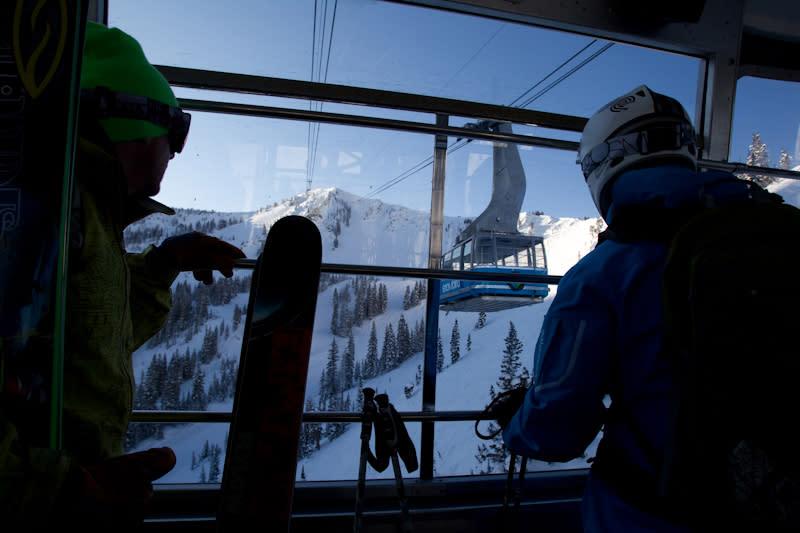 Skiers Riding Snowbird Tram