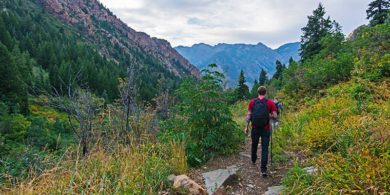 A pair of fishermen heading home along the Lake Blanche trail.
