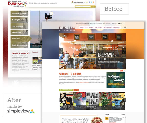 Durham CVB Website Before and After