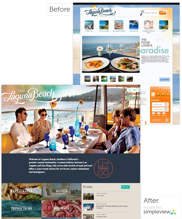 Before and after images of the Visit Laguna Beach Website
