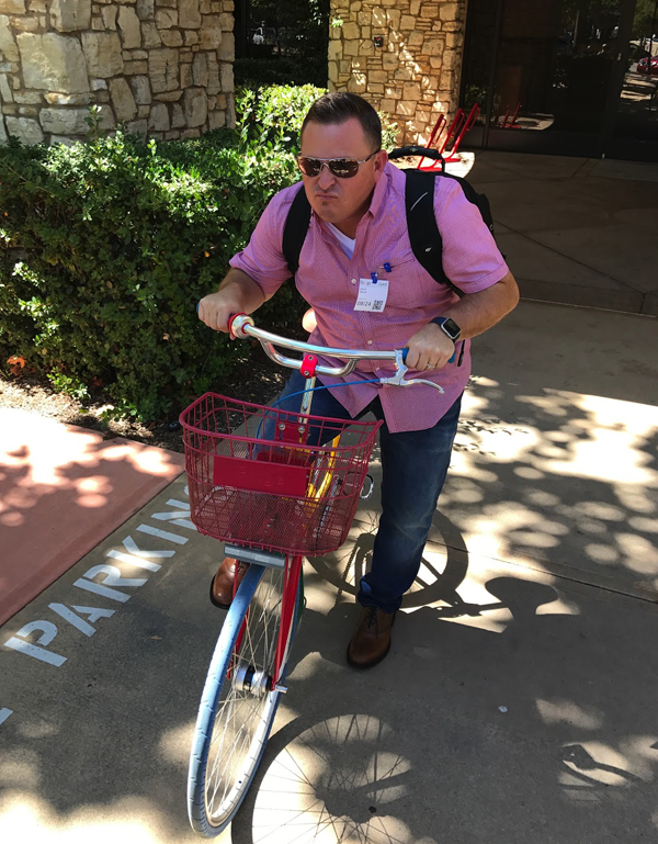 Jason taking on the Google G Bikes.
