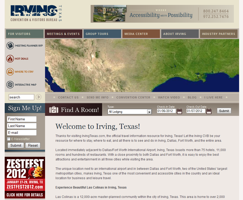 Irving Texas Site Design - Prior to March 2012