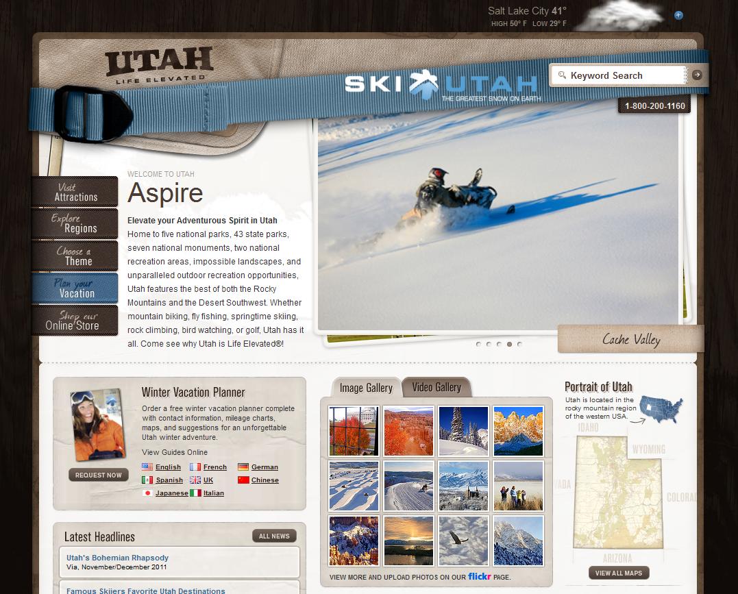 Utah Tourism Website - Prior to March 2012