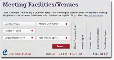 Dallas 2012 Facility Search