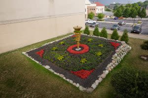 This Quilt Garden in downtown Elkhart in 2016 honored Indiana's bicentennial.