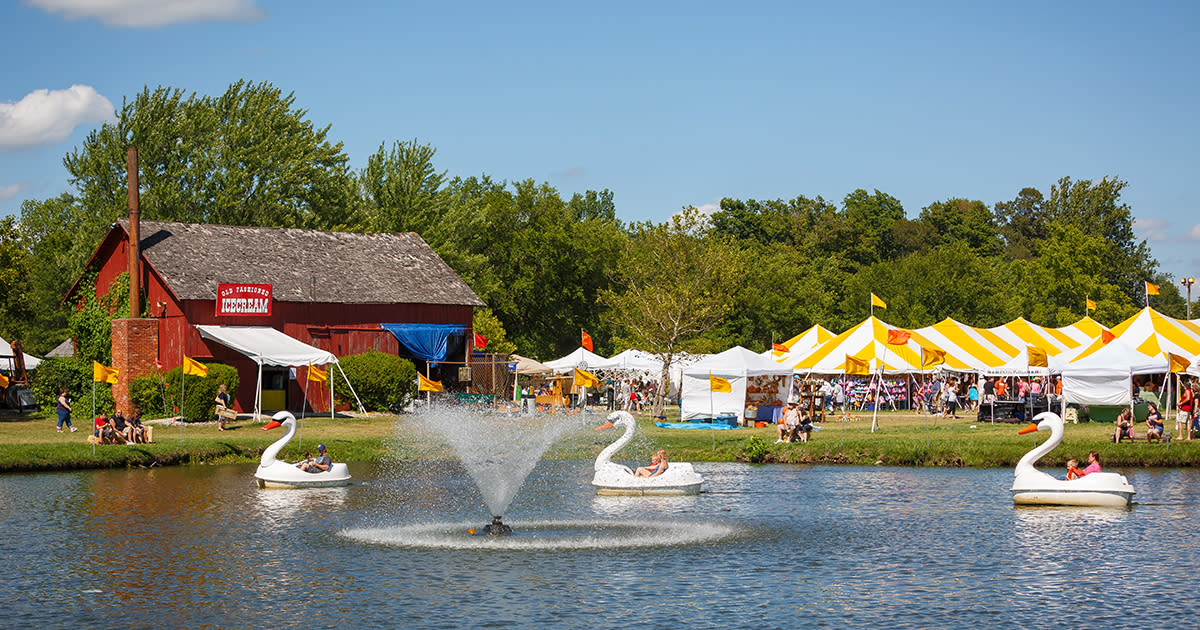 Swan boats on a pond in front of a barn with yellow and white tents set up along the side