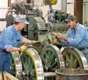 Two men at work in the Tweetsie Railroad Train Shop