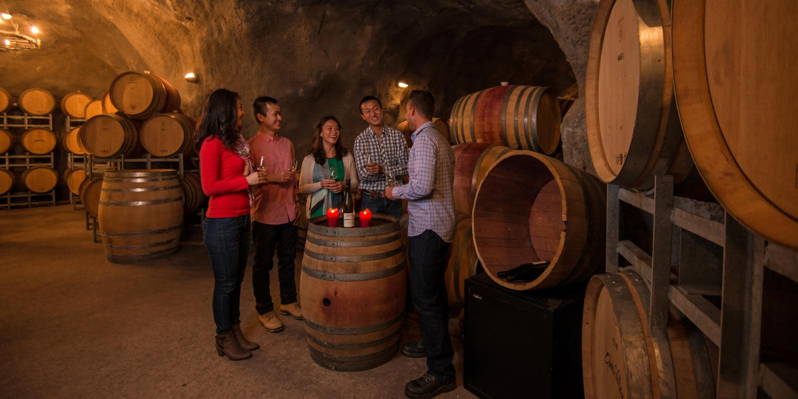 Wine tasting at Gibbston Valley Cave
