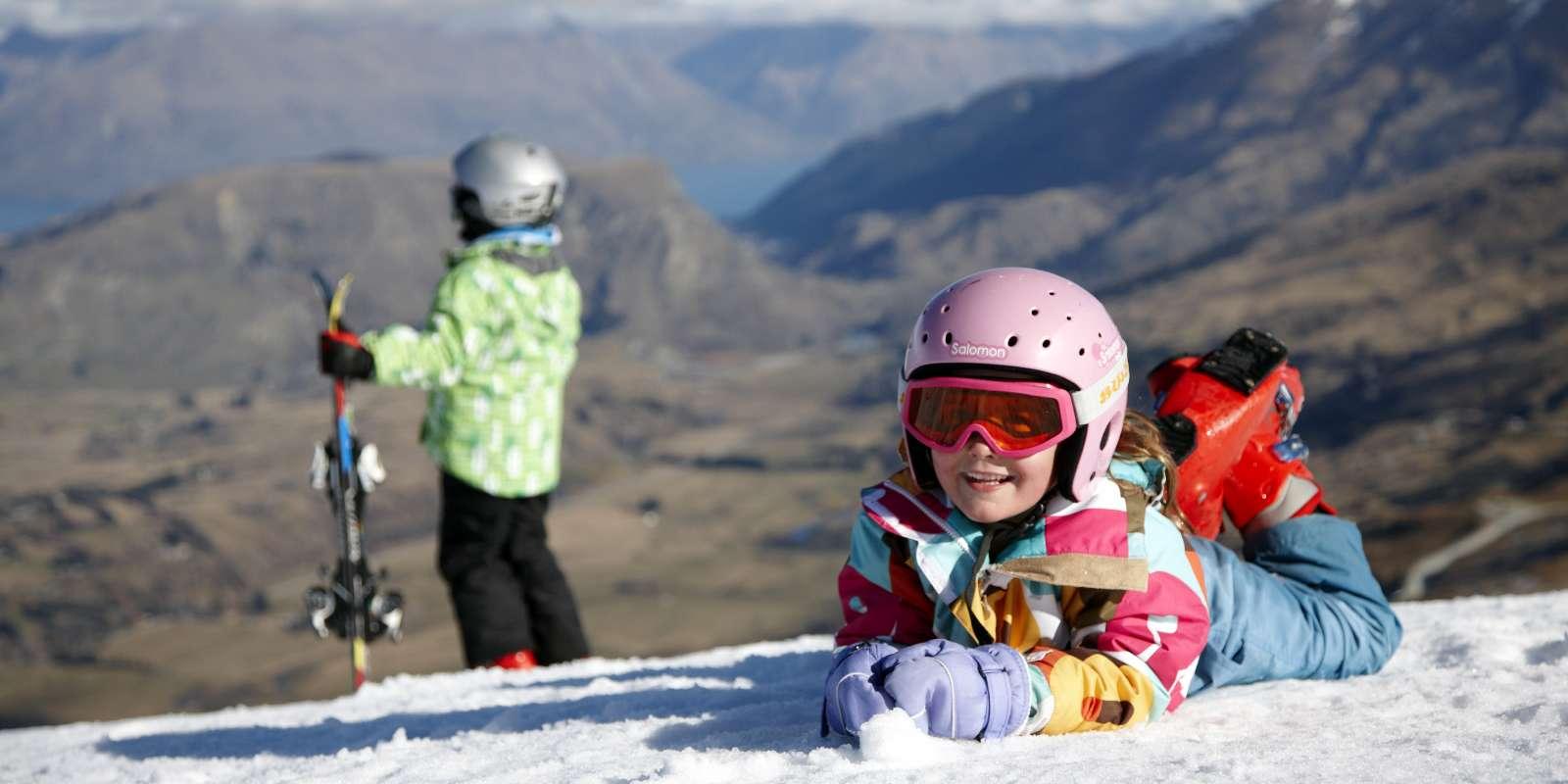Family ski day at Coronet Peak