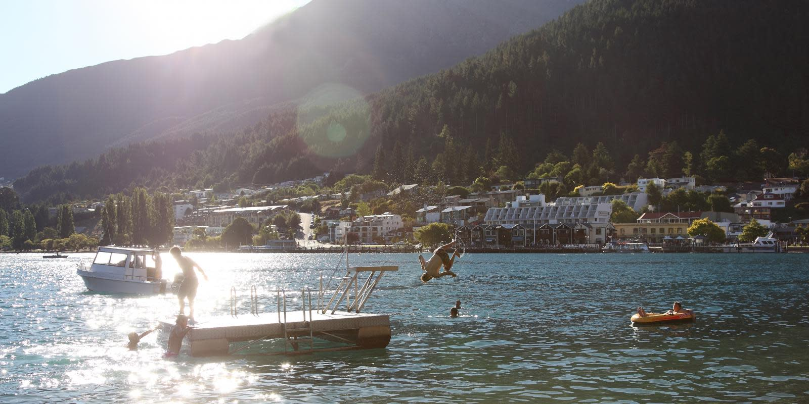 Swimmers in Queenstown Bay