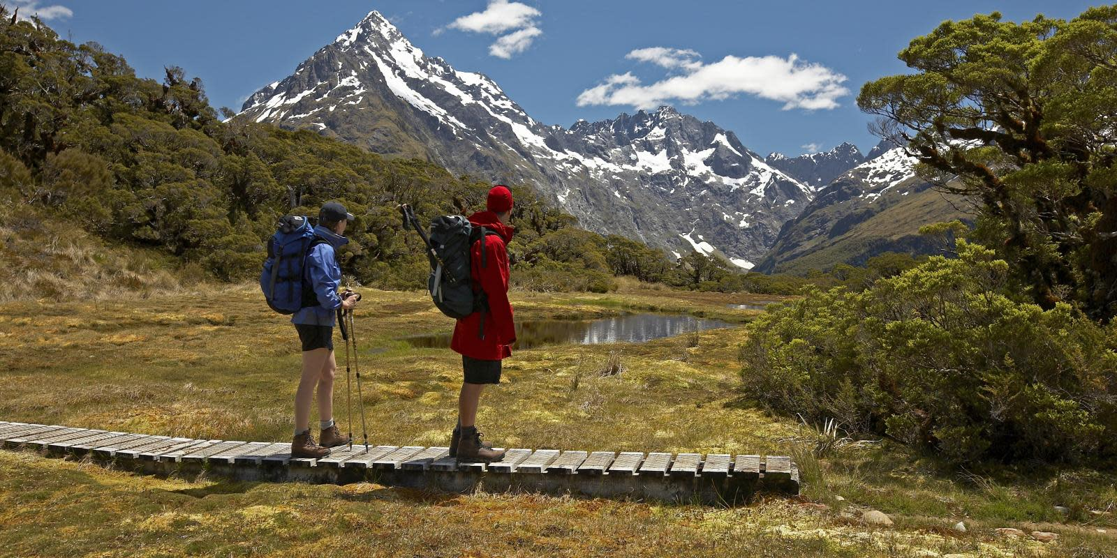 Trampers on Routeburn Track Key Summit