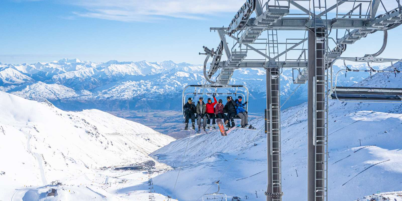 The Remarkables Ski Field Friends on Chairlift