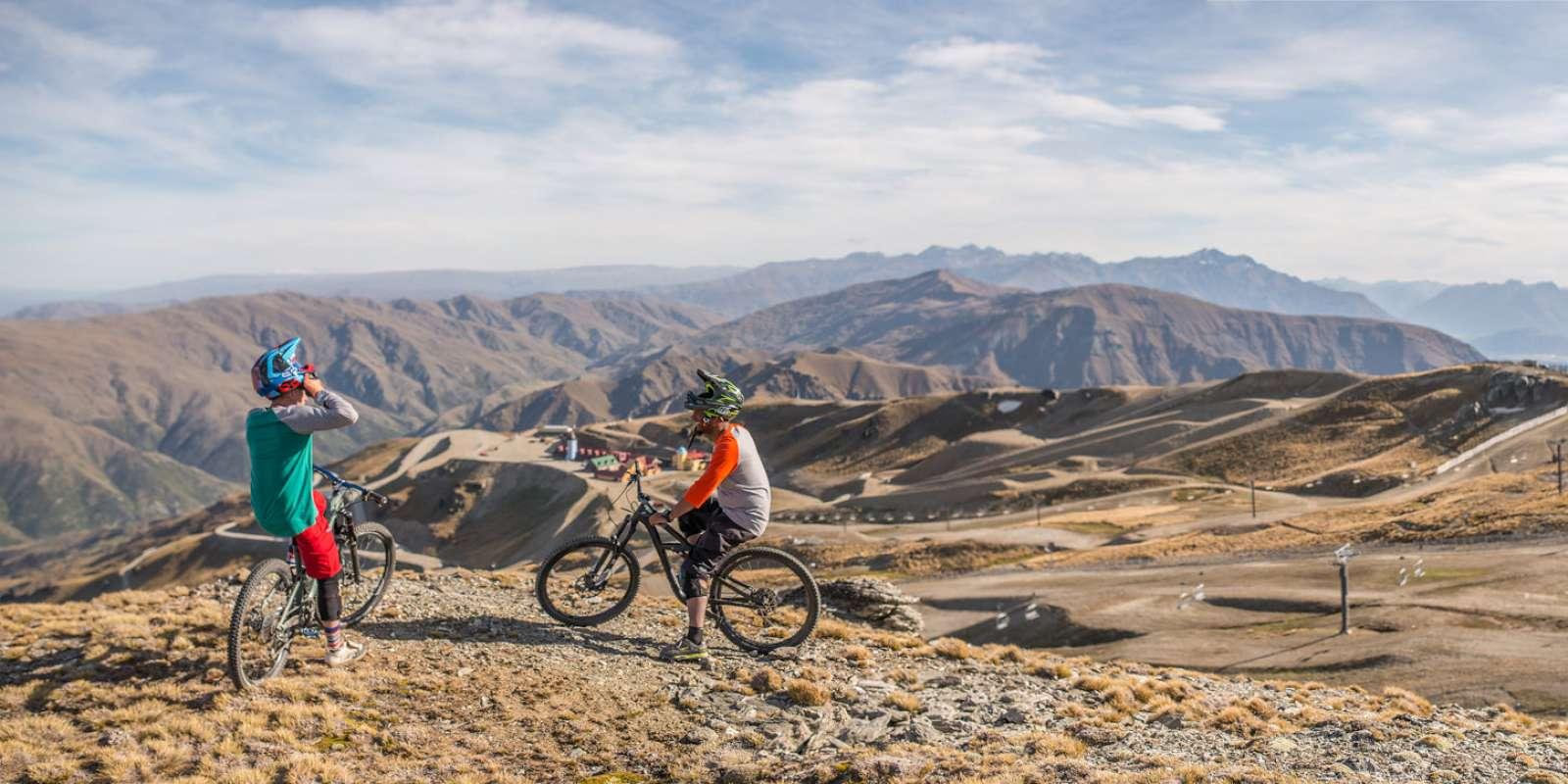 Mountain biking at Cardrona Alpine Resort near Queenstown in New Zealand