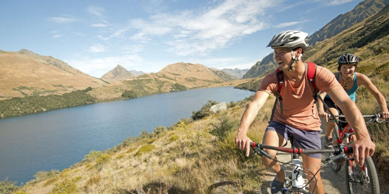 Friends Biking at Moke Lake, Queenstown