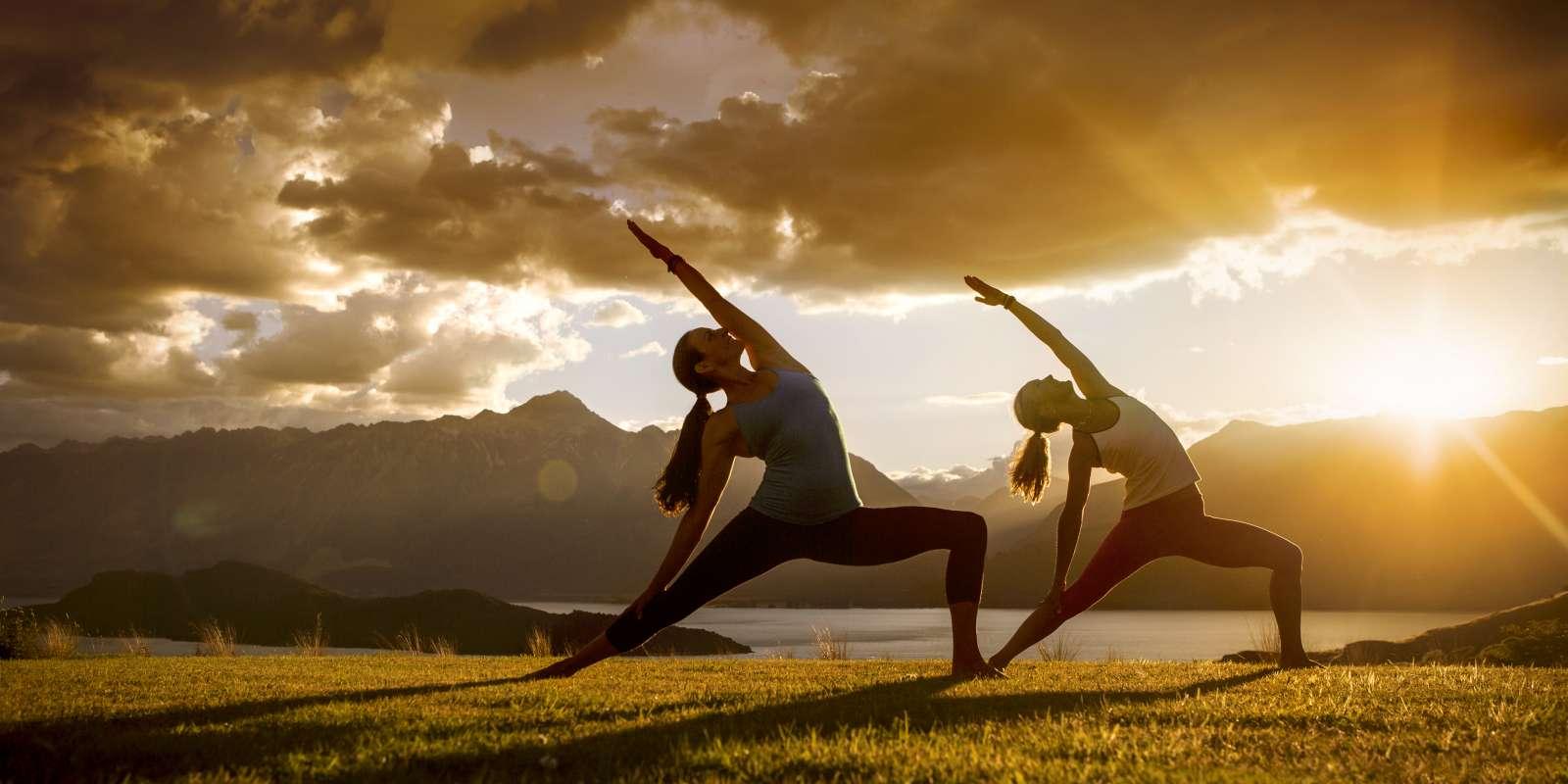 Sunrise girls doing Yoga