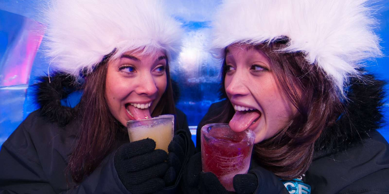 Friends having frozen cocktails at the Ice Bar