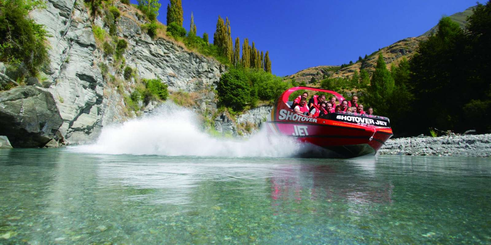 Shotover Jet speeding down the river