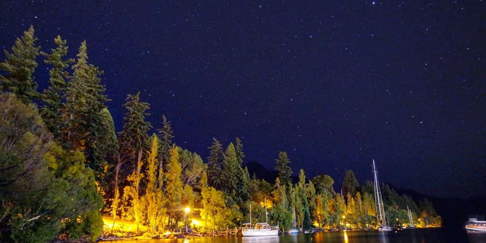 Clear starry nights over the Queenstown Gardens